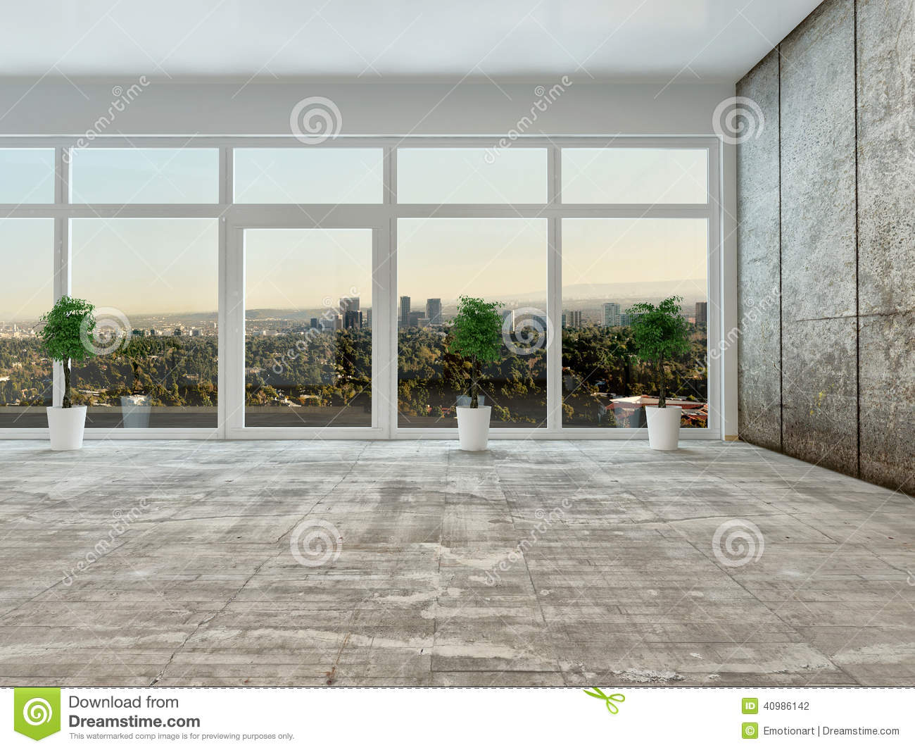 Empty Living Room Interior With Panoramic View