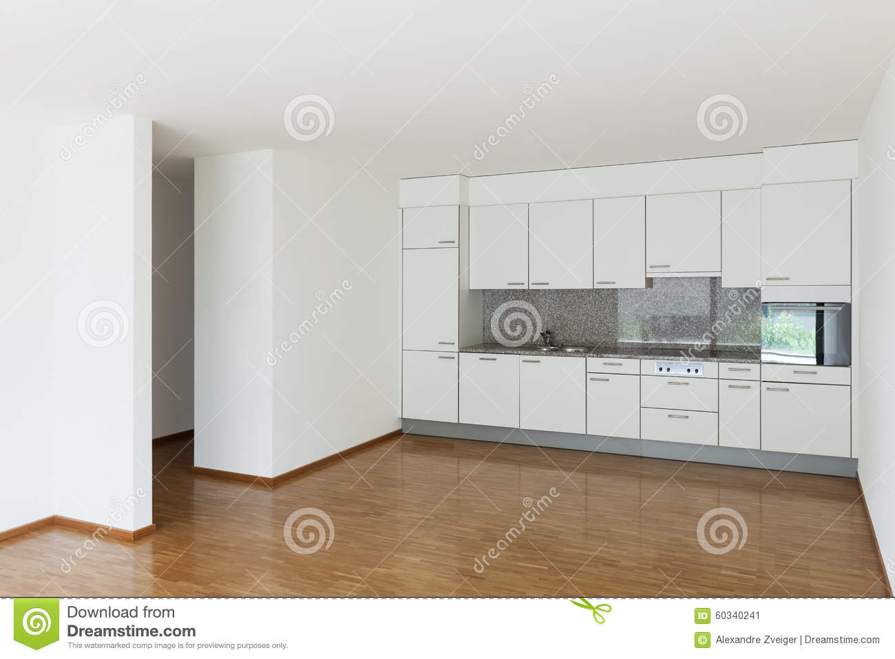 Empty Living Room With Kitchen Stock Image - Image of flat, design ...