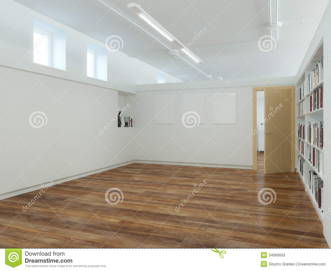 Empty Living Room With Laminate Flooring Stock Illustration Image 34066603