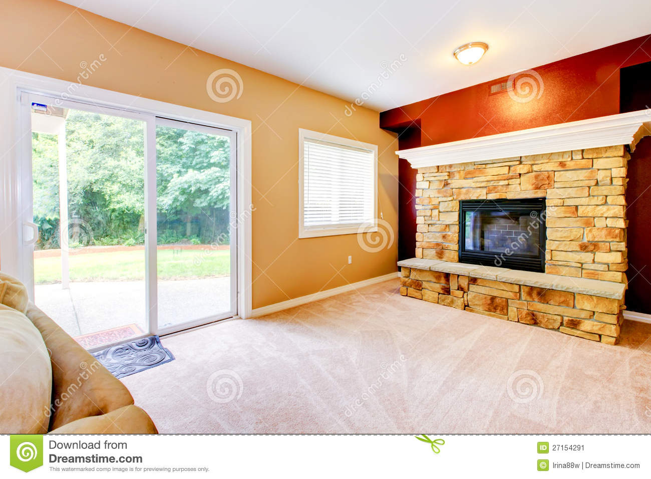 empty living room with large fireplace stock image image