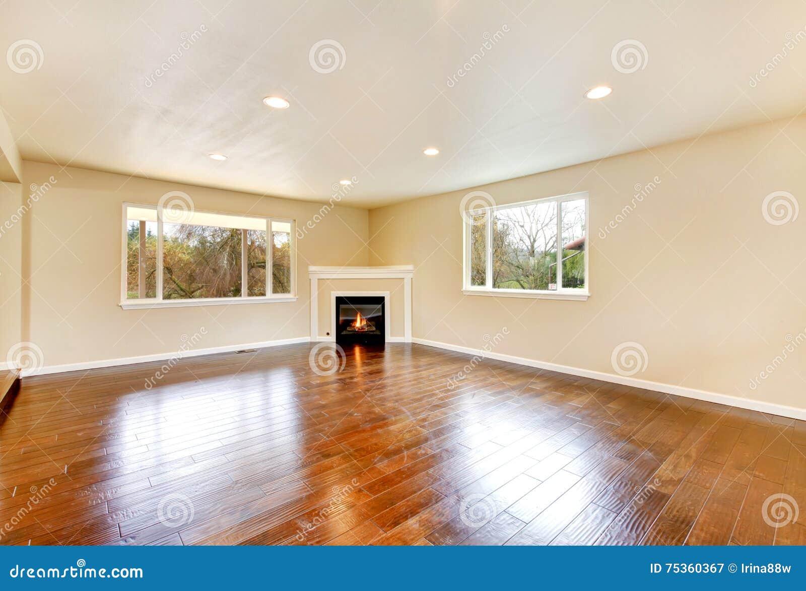 Empty Fireplace Floor Hardwood Living Polished Room
