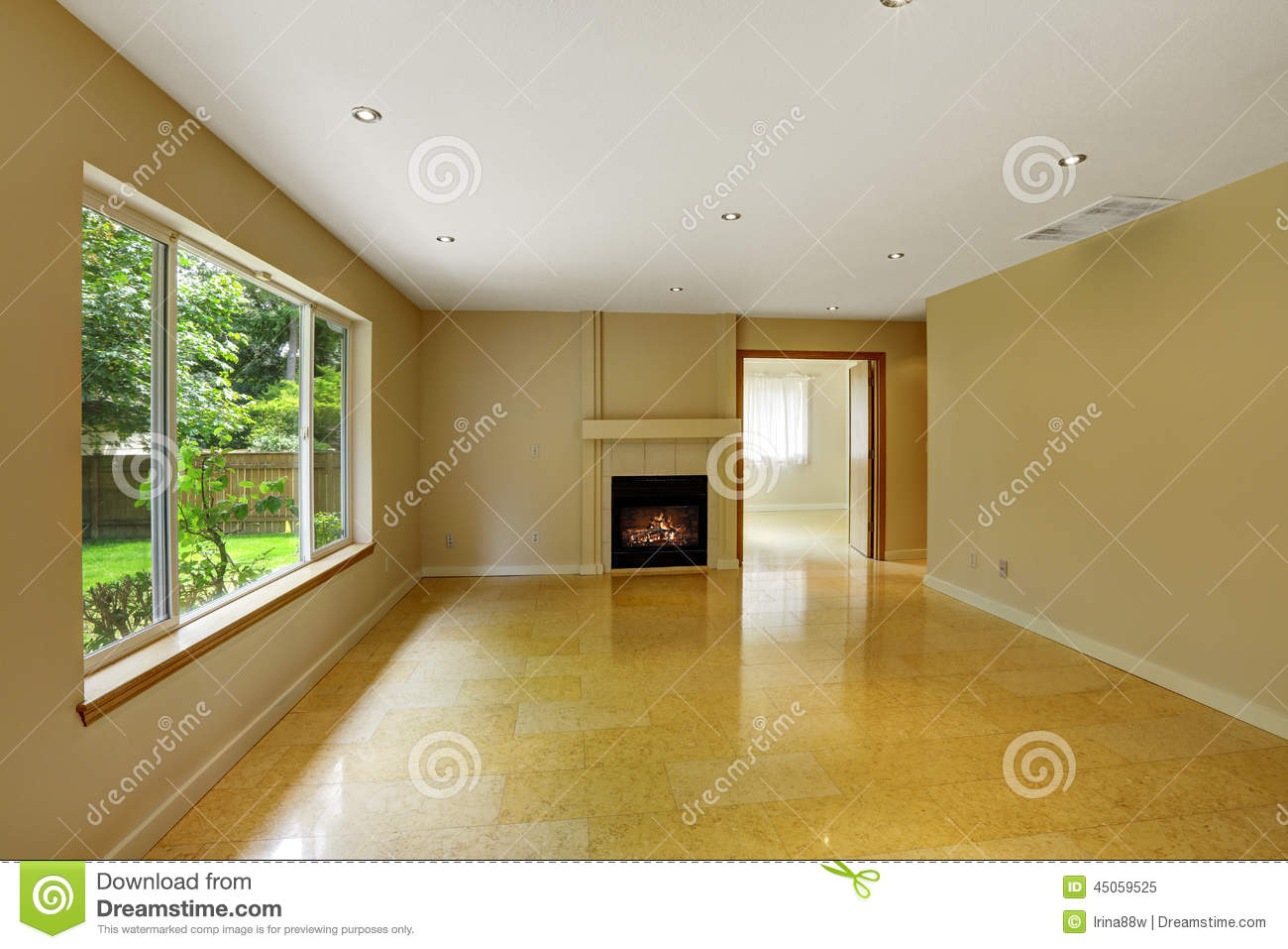 Empty living room with shiny marble tile floor stock image image empty living room with shiny marble tile floor dailygadgetfo Images