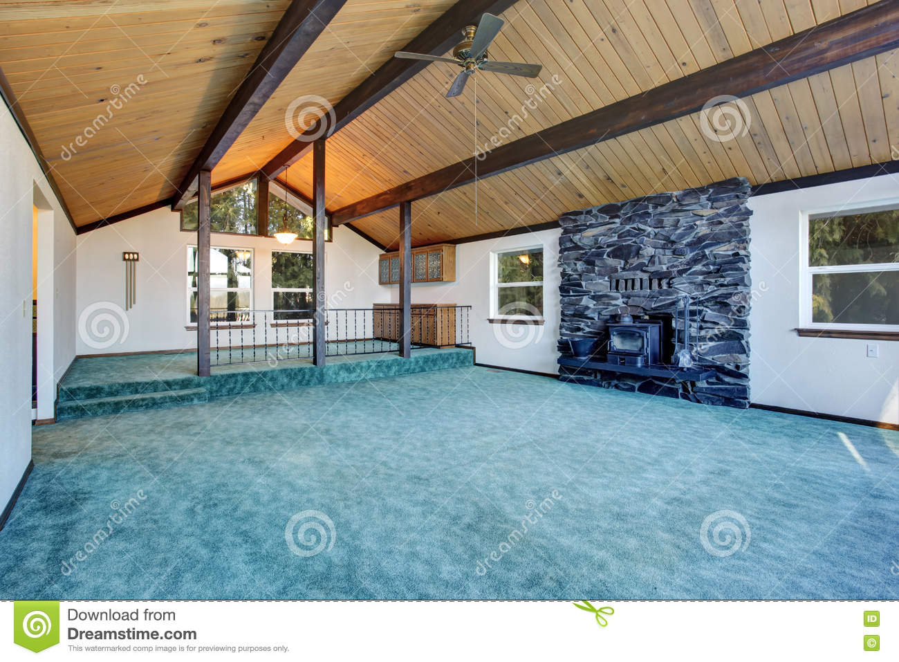 Living Room Turquoise Empty Living Room With Turquoise Carpet Floor In Luxury House