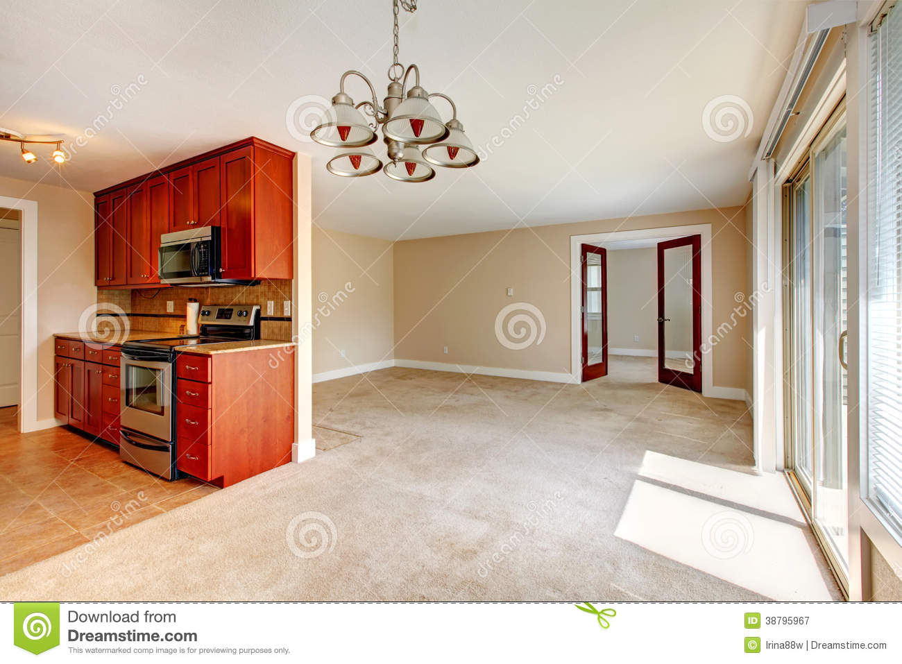 Empty Living Room View Of Kitchen Cabinets Stock Photo