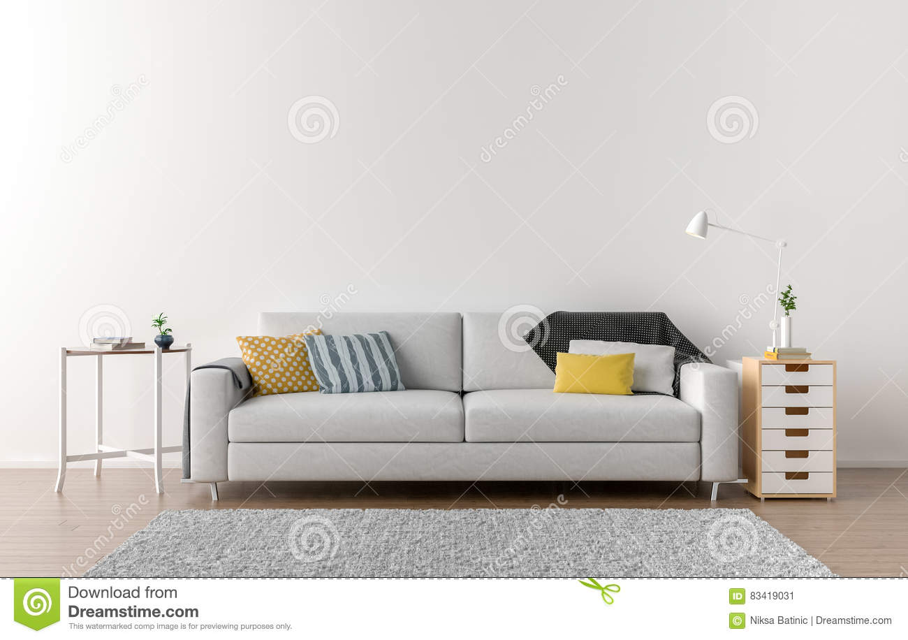 Empty Living Room With White Wall In The Background Stock ...
