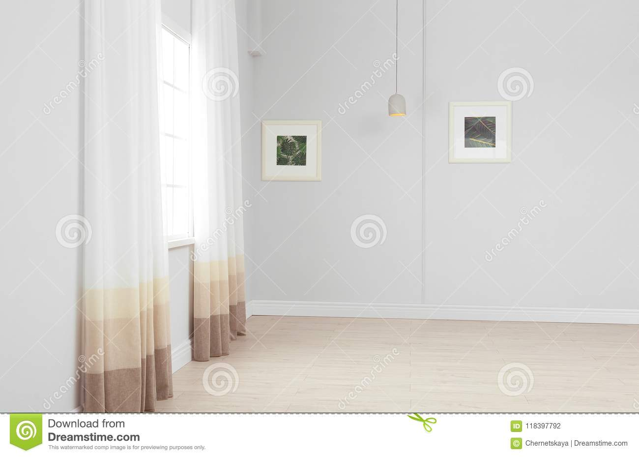 Empty living room with window modern interior design stock photo