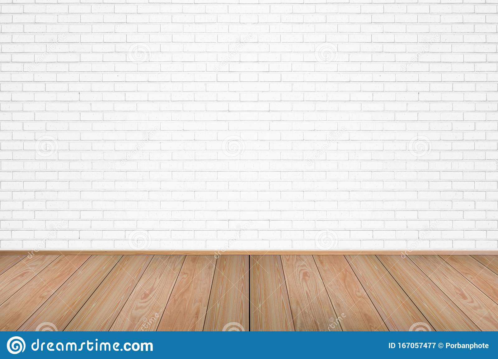 Empty Living Room With Wooden Floor And White Brick Wall Stock Image Image Of Modern Brickwork 167057477