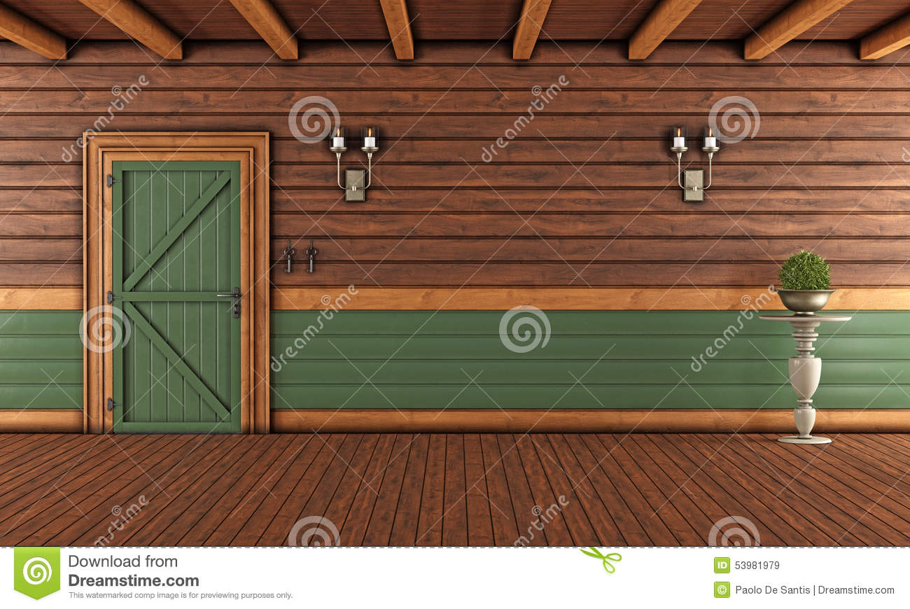 Empty living room of a wooden house stock illustration for D furniture galleries closing
