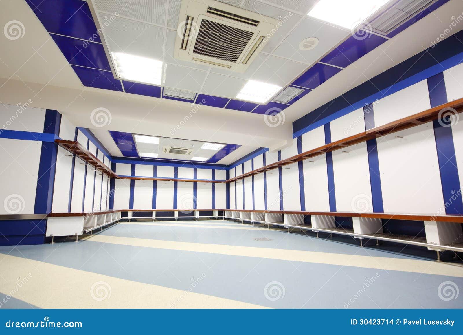Empty locker room in Santiago Bernabeu Stadium