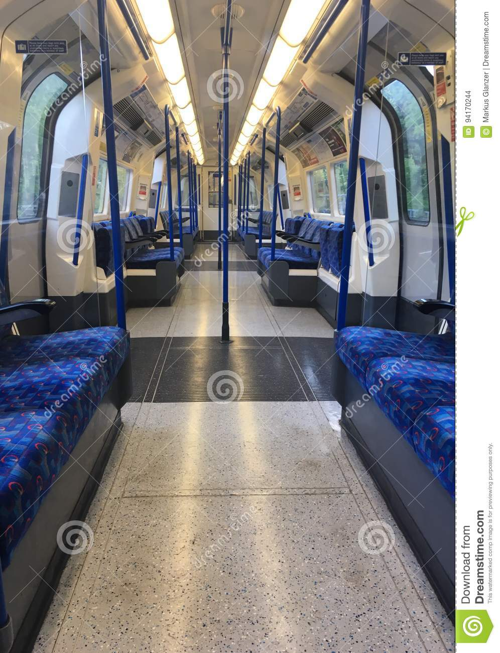 Empty London tube carriage