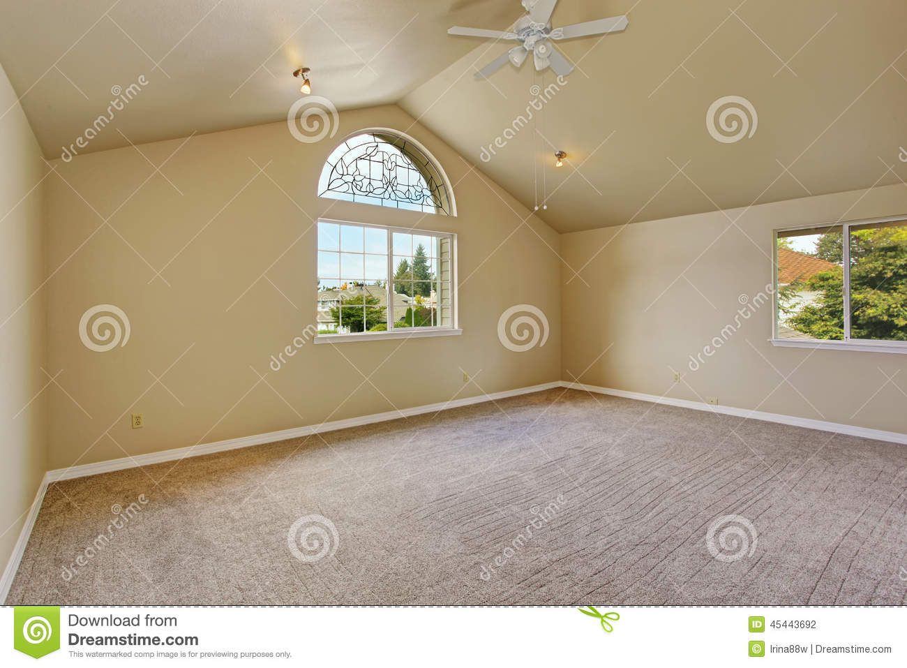 Empty Master Bedroom With Arch Window Stock Photo Image 45443692