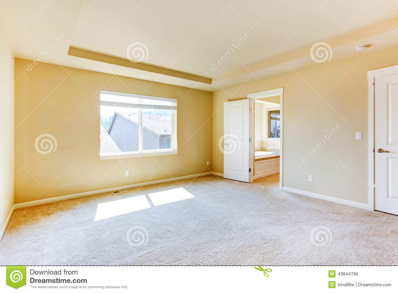 Master Bedroom And Bathroom Empty Master Bedroom With Bathroom Stock Photo Image 43844796