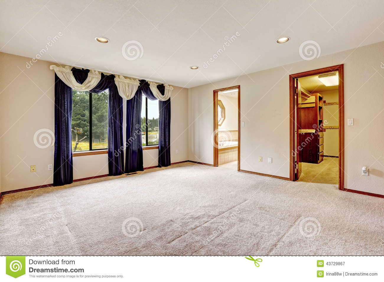 Empty Master Bedroom Interior With Walk In Closet And Bathroom Stock
