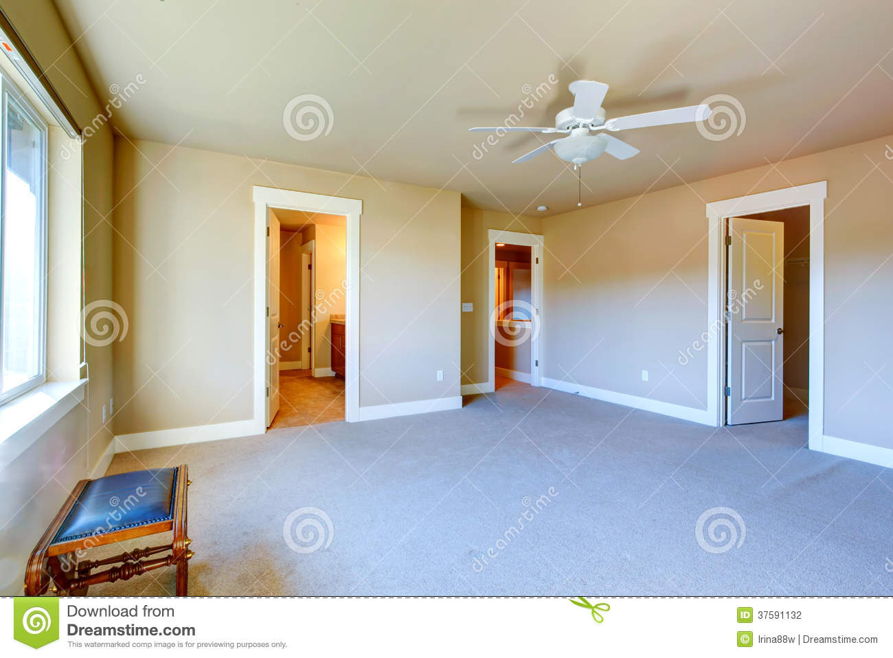 Empty master bedroom with walk in closet and bathroom for Bedroom and bathroom