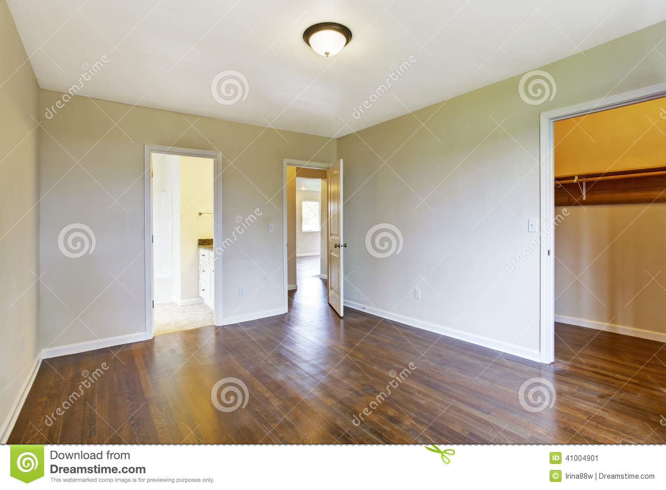 Empty master bedroom with walk in closet stock photo for Empty master bathroom