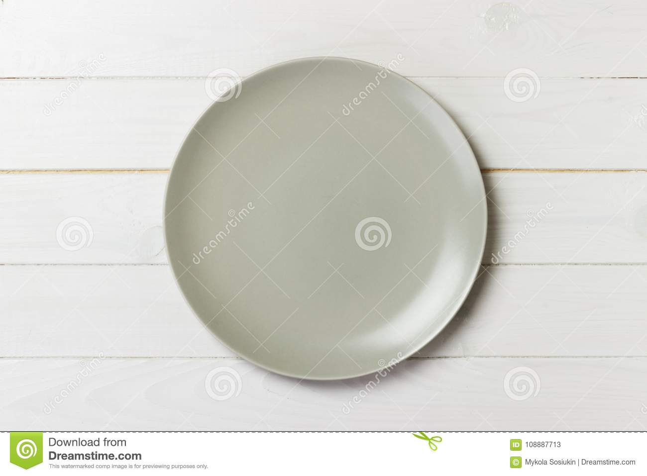 Empty Matte Round Plate On Wood Table Top View Stock Image