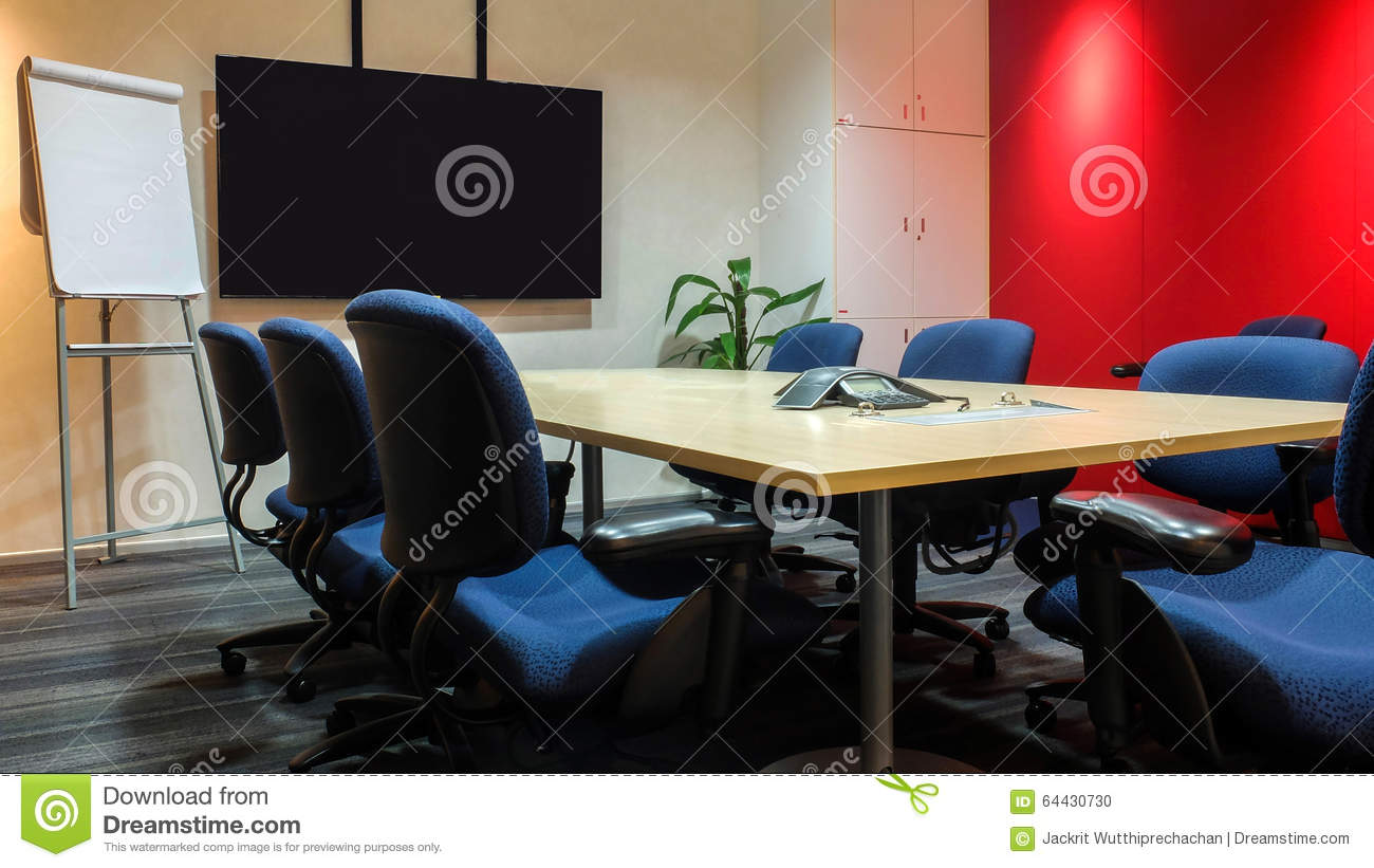 The Empty Meeting Room With Used Office Furniture
