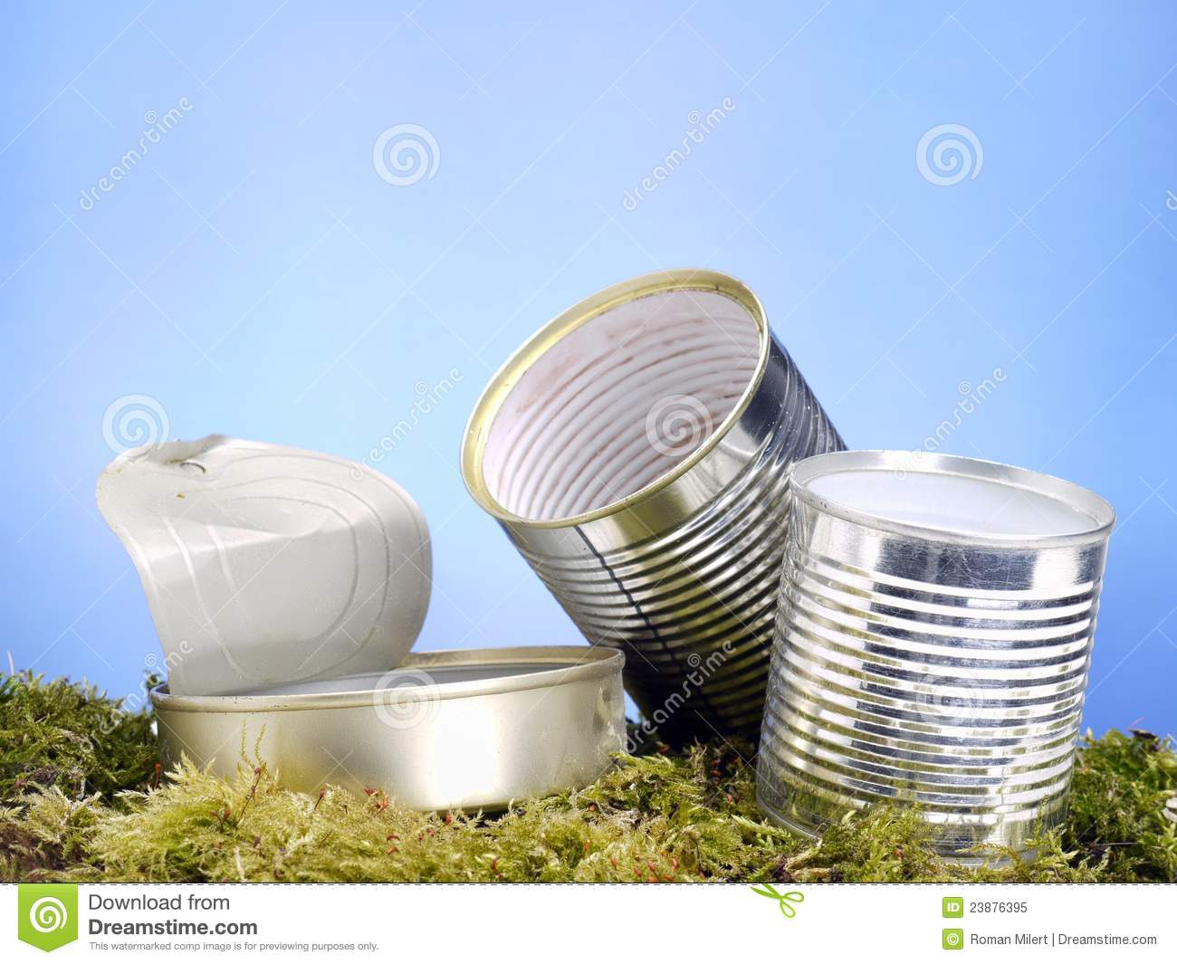 Empty metal cans in the grass