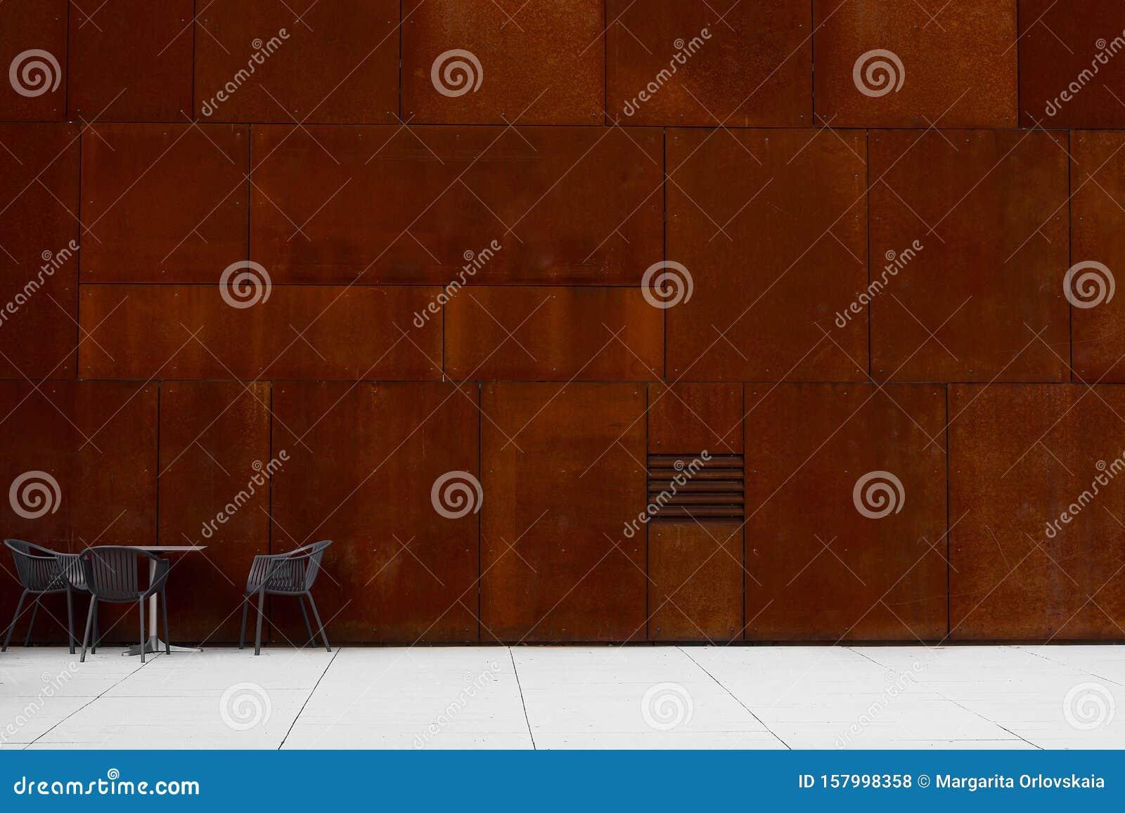 Empty Metal Trendy Urban Modern Cafe Street Facade Stock Photo Image Of Design Restaurant 157998358