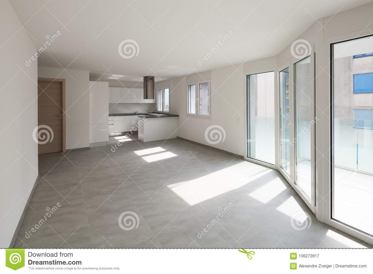 Download Empty Modern Apartment Spaces And White Walls Stock Image