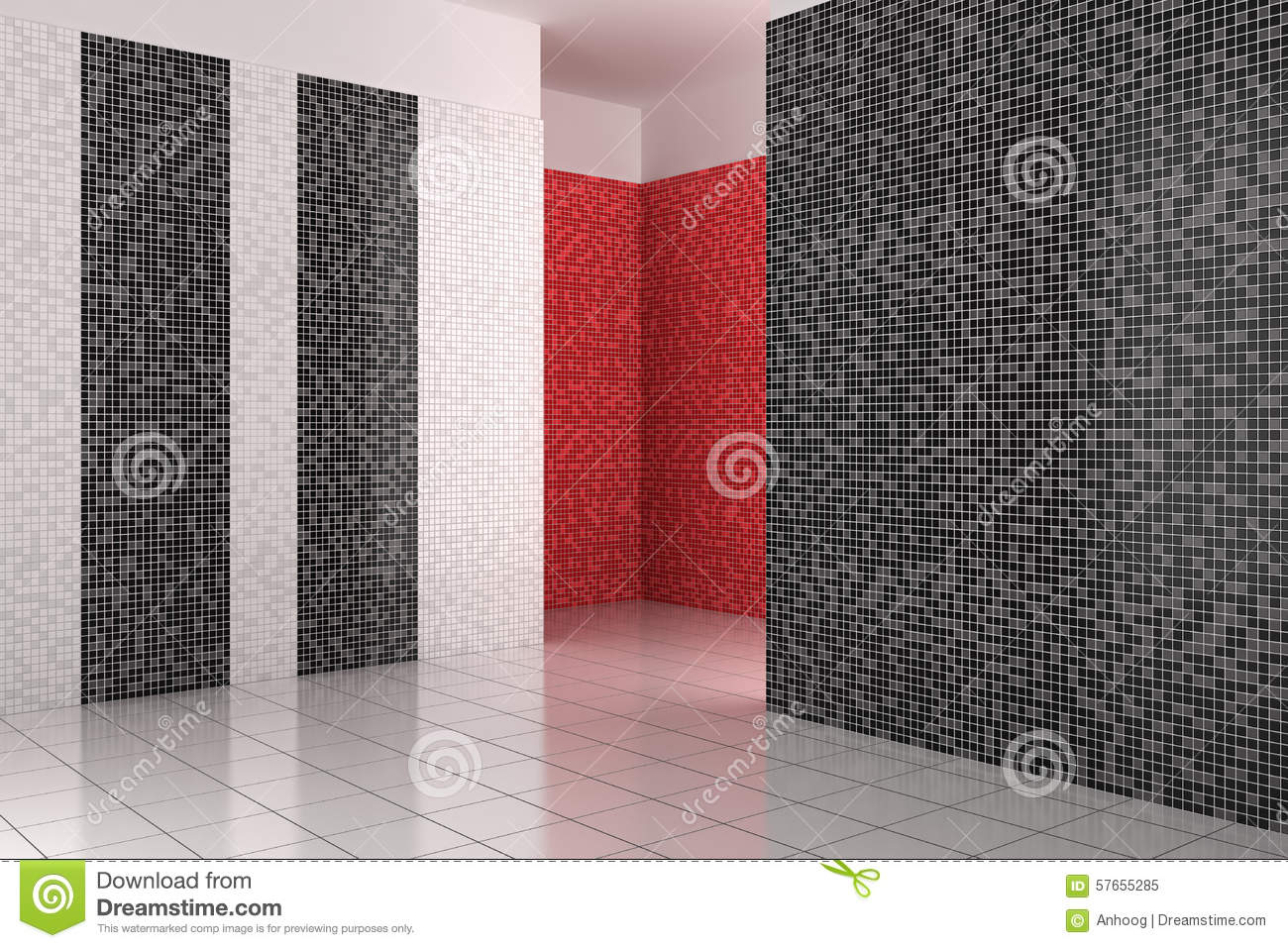 Bathroom Black Empty Modern Mosaic Red ...
