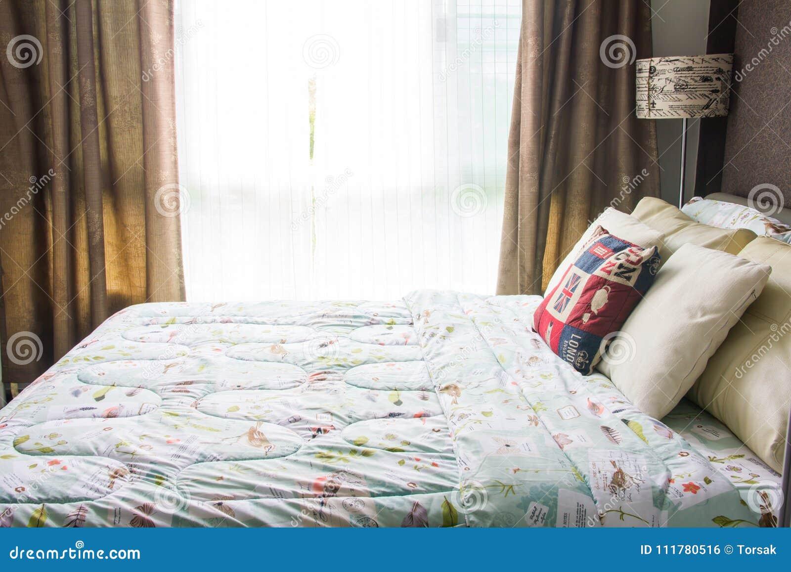 Empty modern bed in bedroom