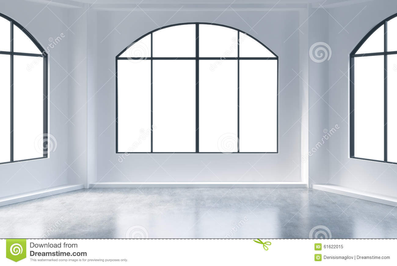 Empty white loft interior royalty free stock photography - Finestre panoramiche ...