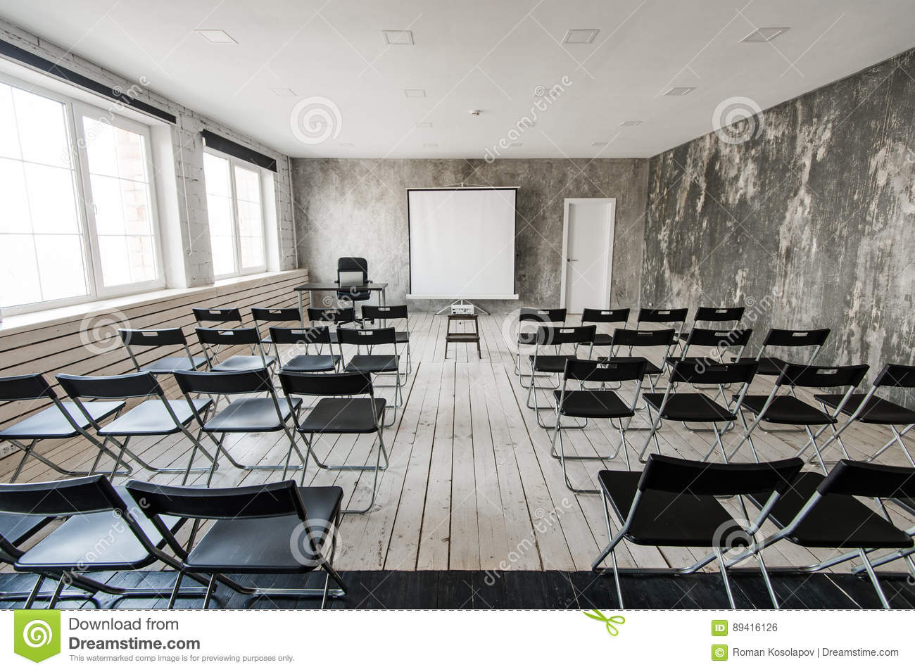 Modern Classroom Projector ~ Empty modern classroom with black chairs projector screen