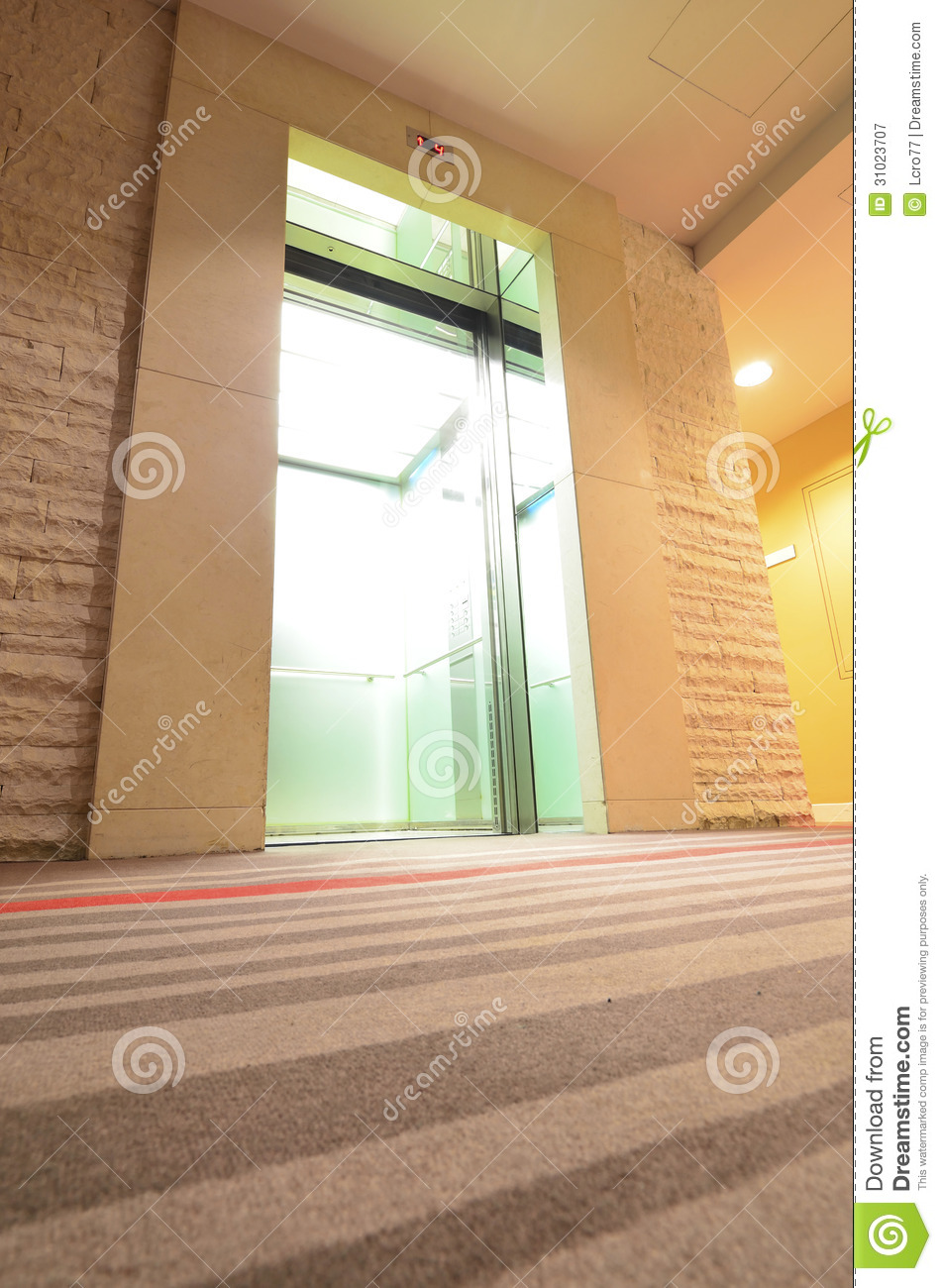 Inside Hotel Room Door: Empty Modern Elevator With Open Doors Royalty Free Stock