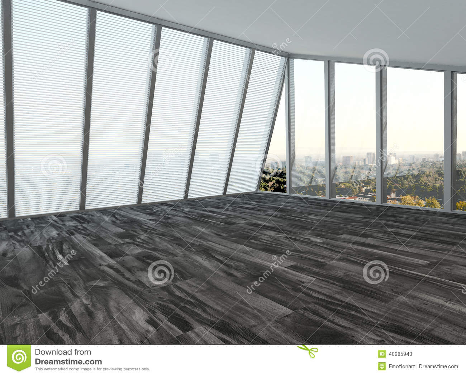 Empty modern living room interior stock illustration for Ceiling to floor blinds