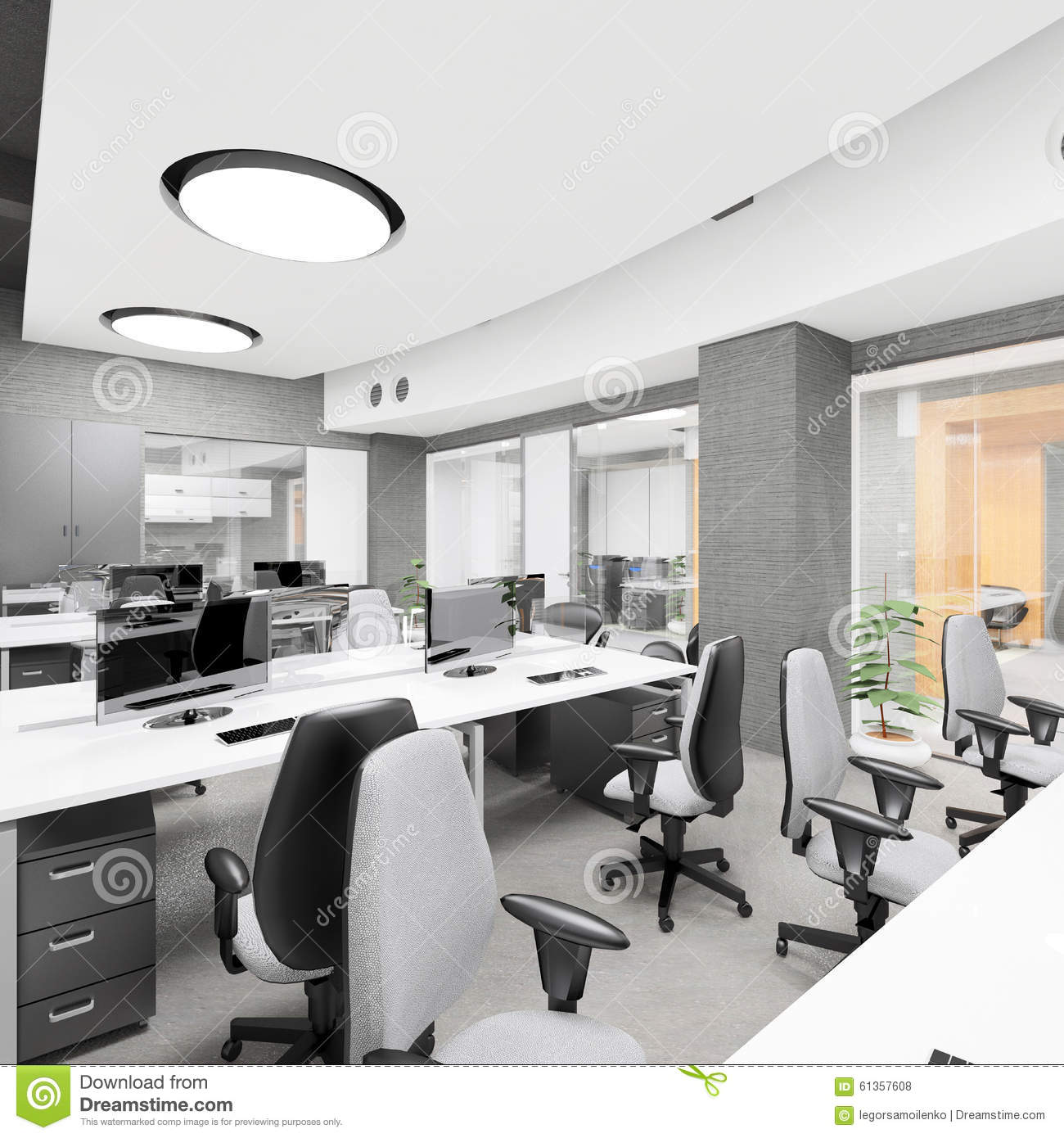 Empty modern office interior work place stock illustration for Office interior work