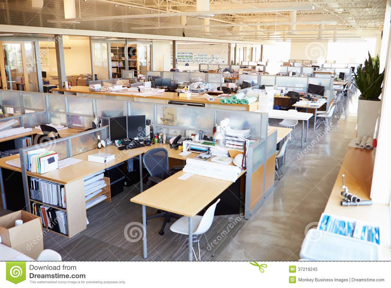 Empty modern open plan office stock image image of for Open plan office design