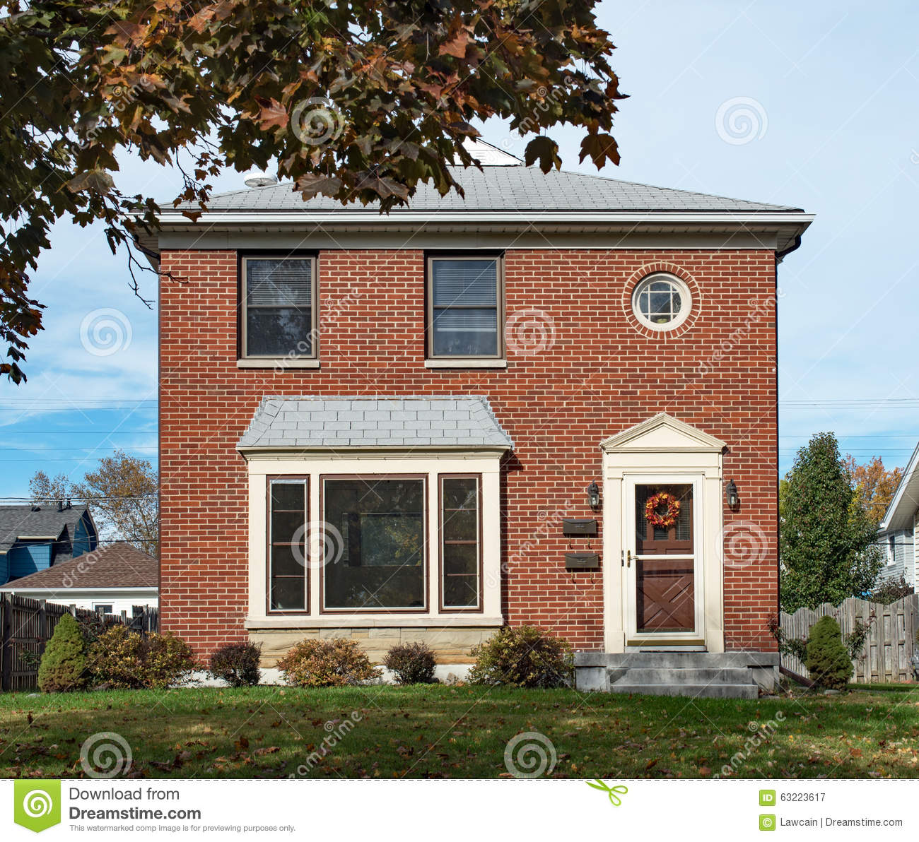 Empty Modest Brick Duplex House Stock Image Image 63223617