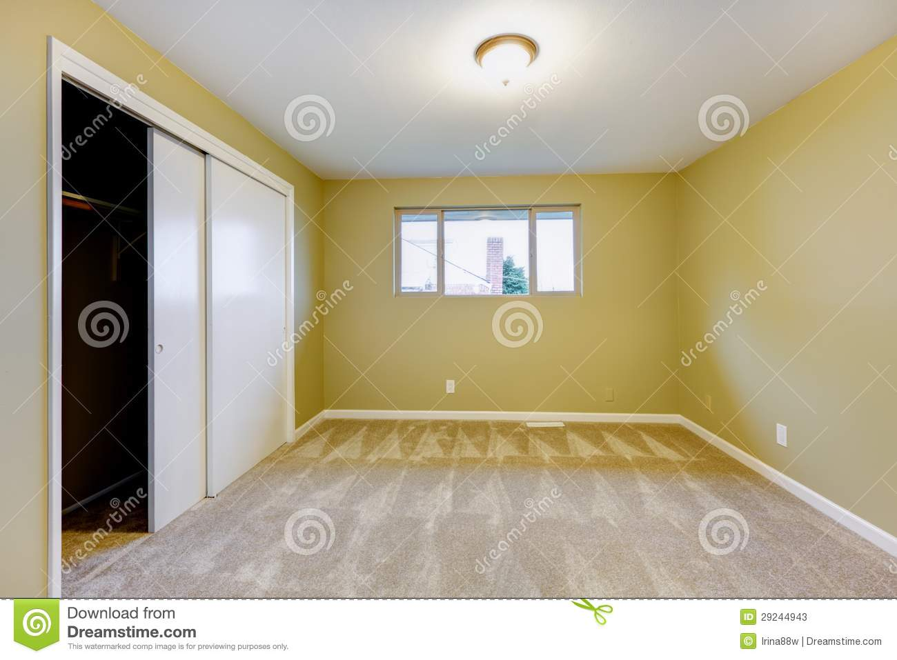 Empty New Bedroom With Green Walls Interior. Stock Image - Image of ...