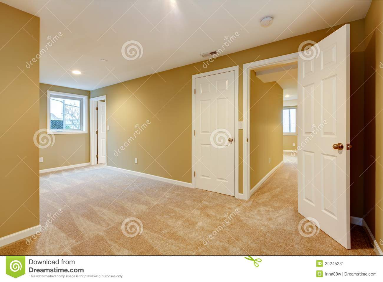 Empty New Bedroom With Many Doors And Beige Carpet Stock Image Image 29245231