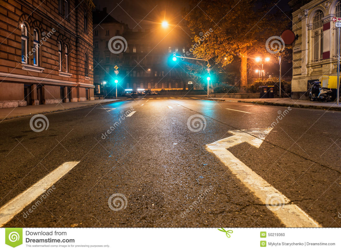 Empty Night Road With Traffic Lights Stock Photo - Image: 50219360 for Traffic Light On Road At Night  111ane