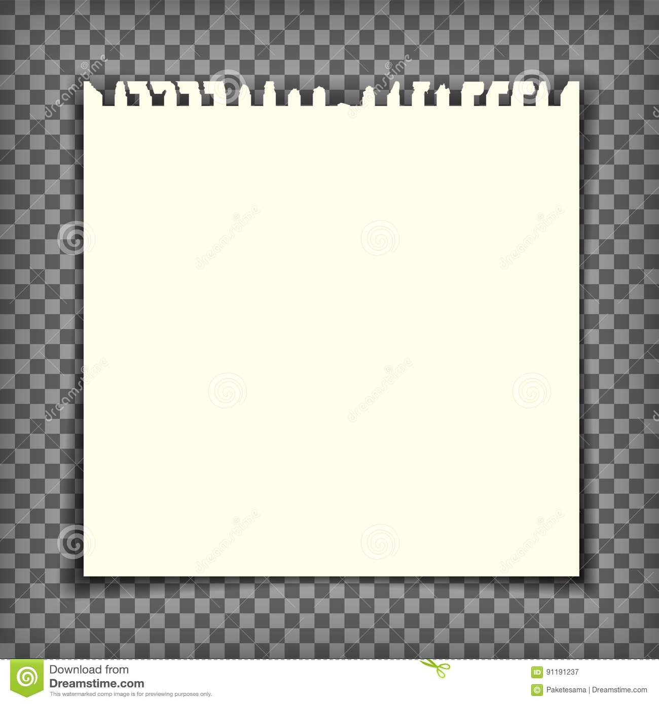 empty notebook page with torn edge stock vector