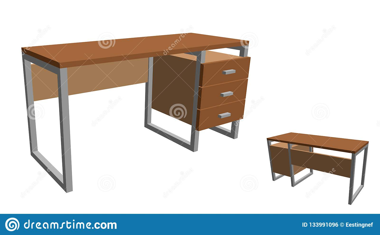 Empty office desk. Isolated on white background. 3d Vector illus