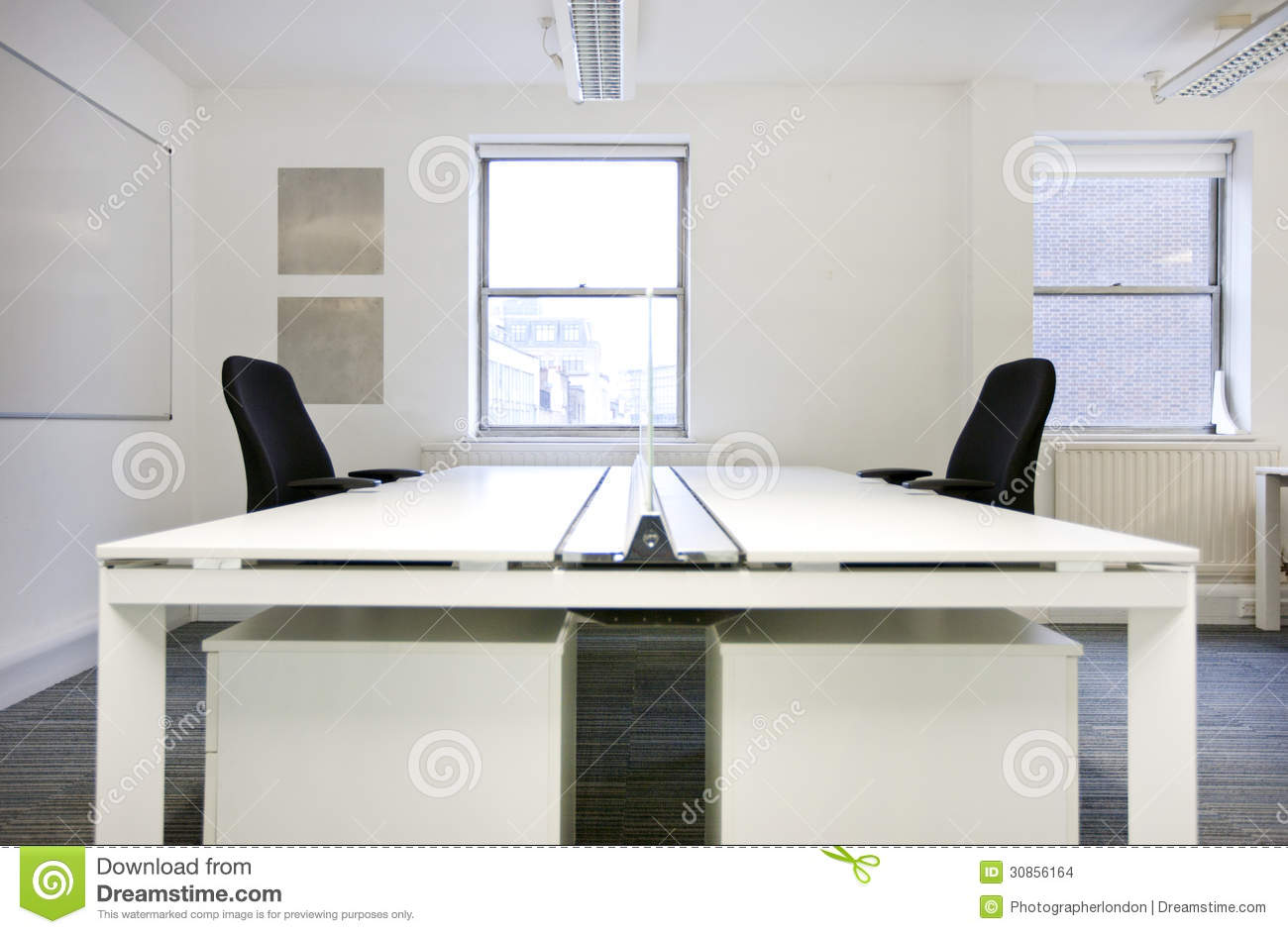 Empty Office Desks Back To Back Stock Images Image