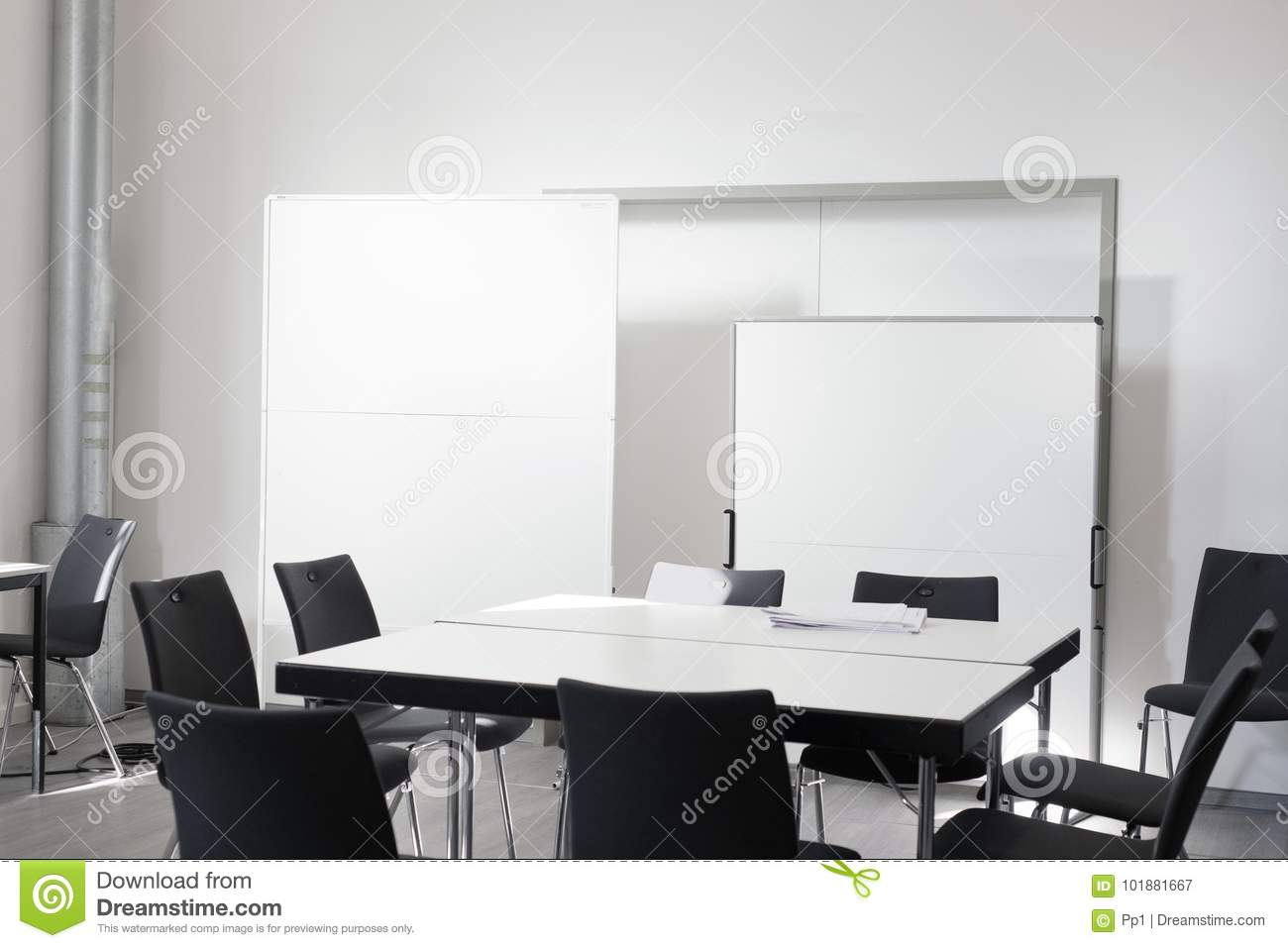 Empty Office Meeting Room With Chair Table White Board Stock Image
