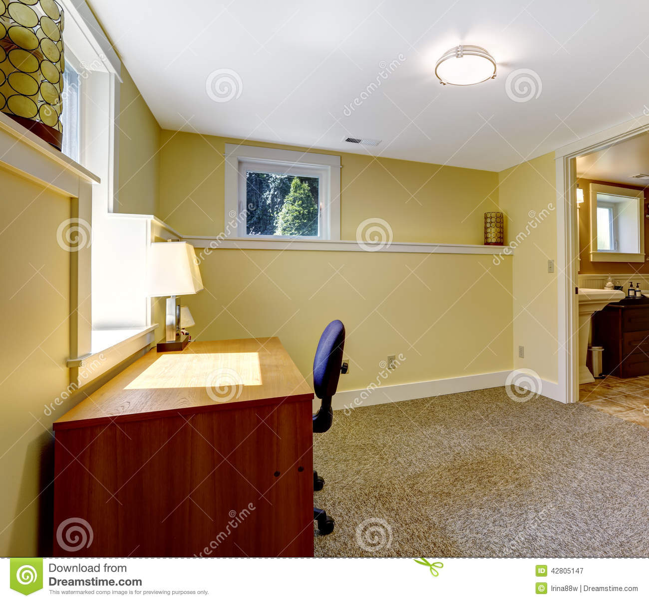 Empty Office Room With Bookshelf And Desk Stock Image - Image of ...