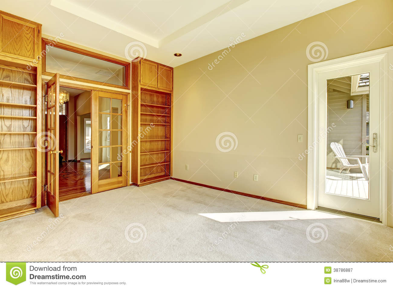 Empty Office Room With Bookshelves Stock Photo Image
