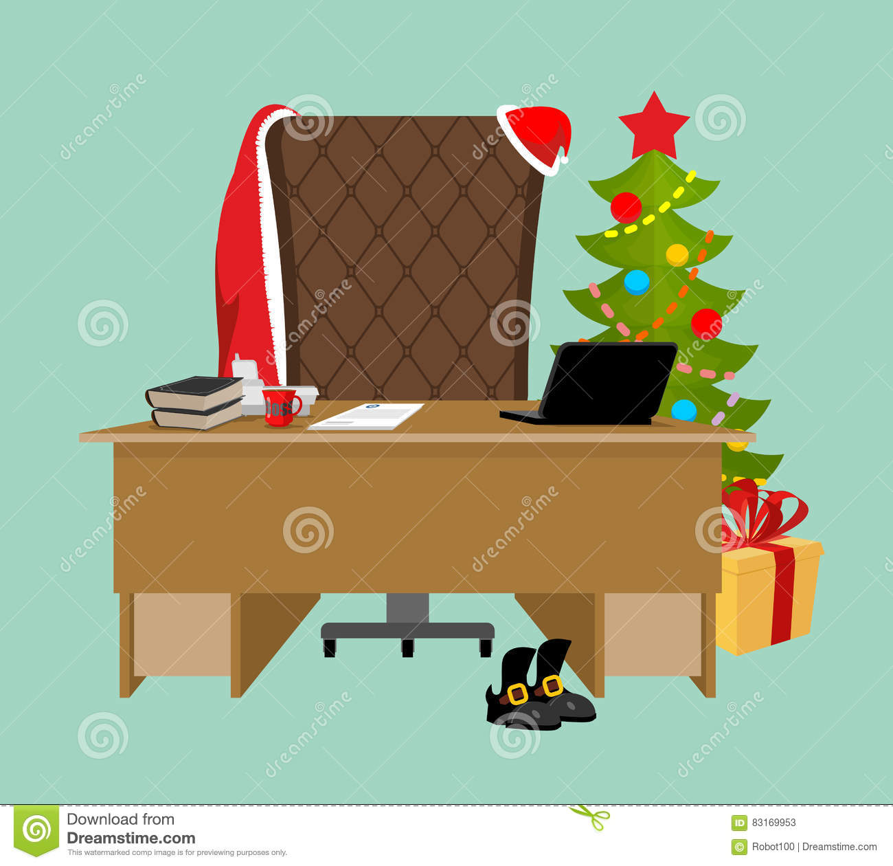 empty office santa claus workstation after work table and fir