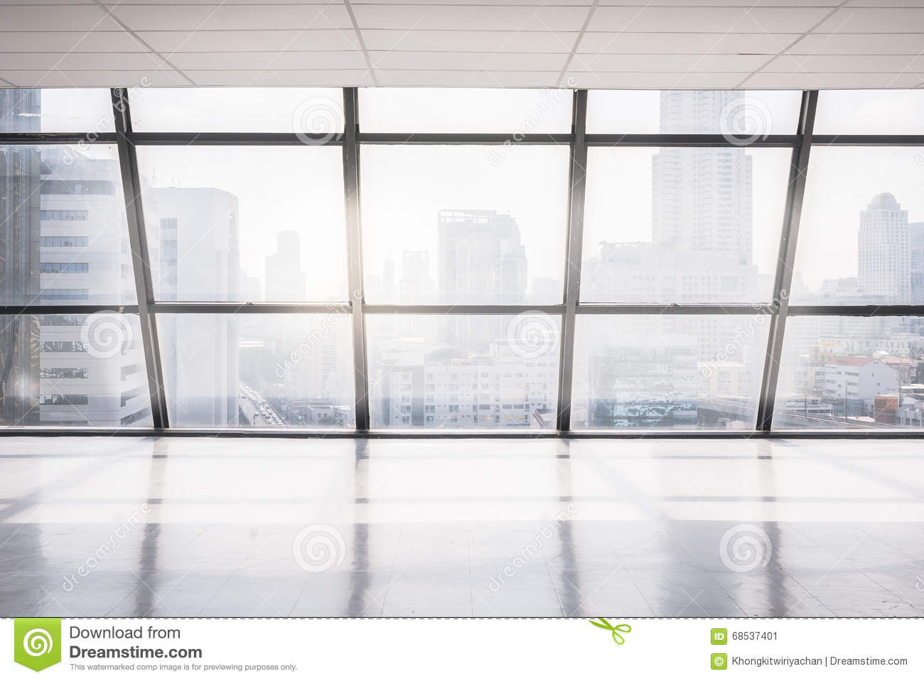 large office space. Empty Office Space With Large Window. Abstract, Background.