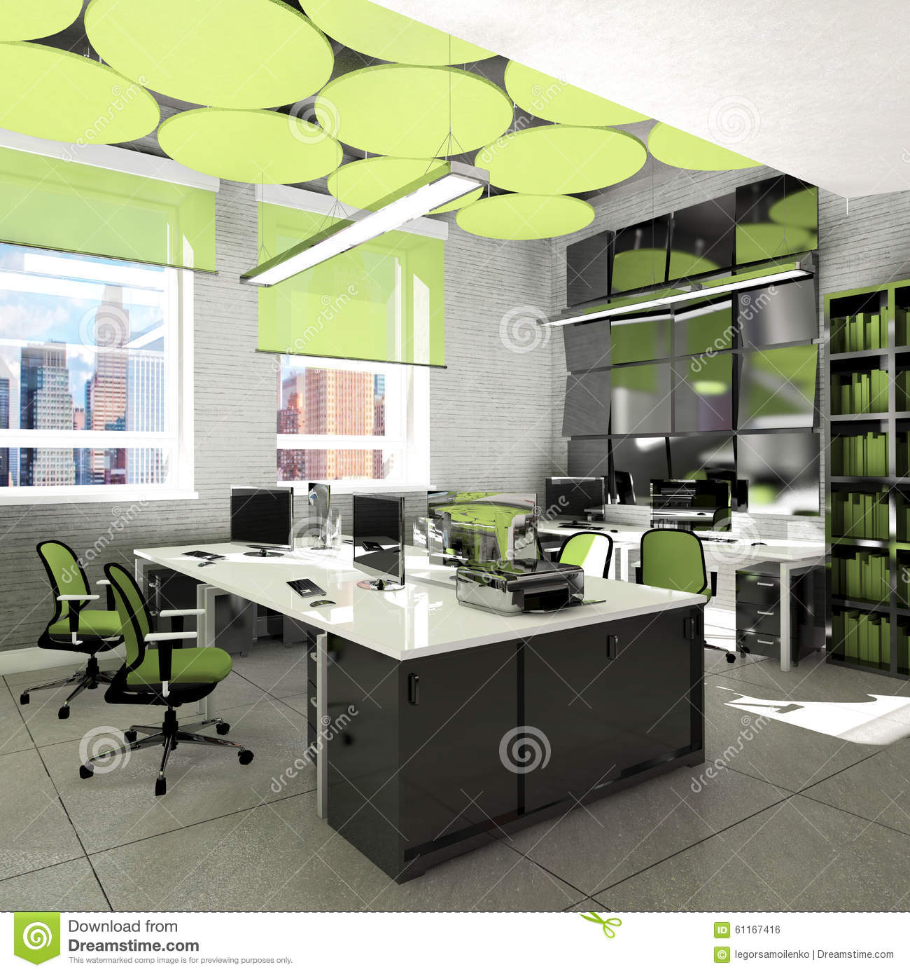 Empty office work place visualization stock illustration for Office interior work
