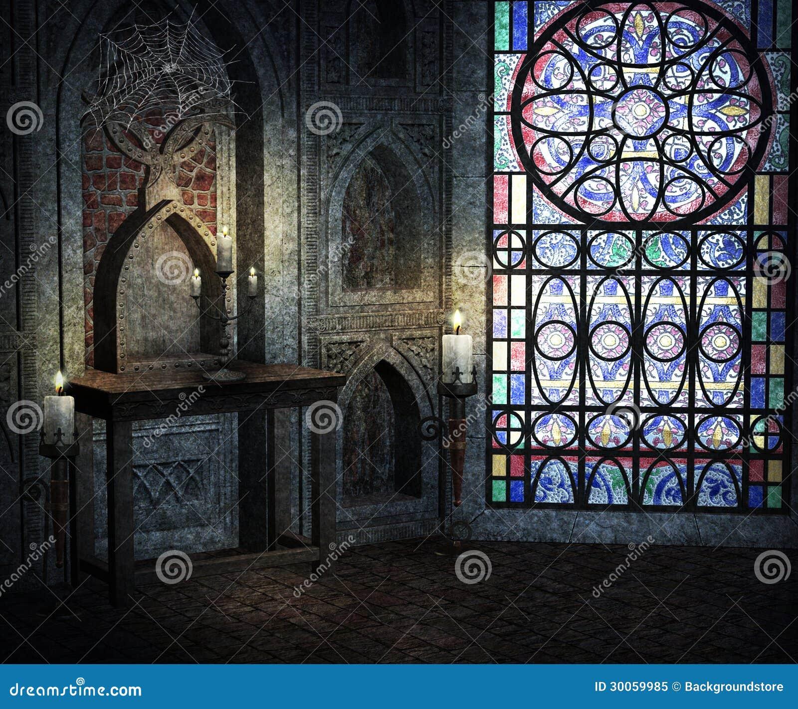 Gothic Room Background Stock Image. Image Of Black