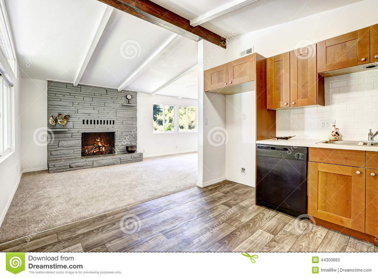 Carpet Empty Fireplace Floor House Interior Kitchen Living Old Room