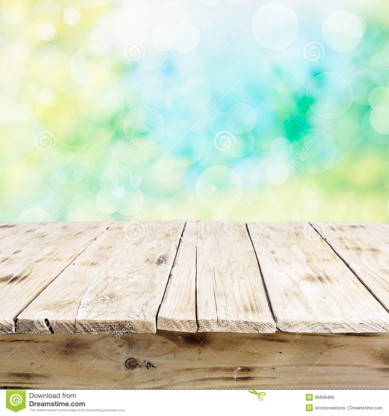 Empty Old Wooden Table In Fresh Sunlight Stock Photo ...