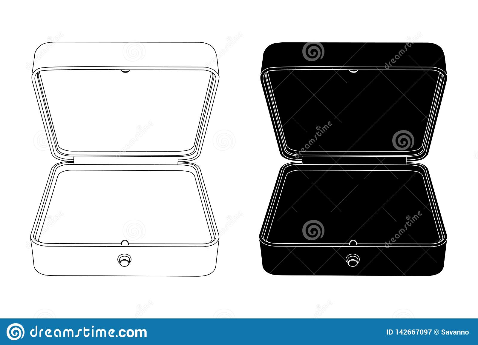 Empty Open Jewelry Box. Black And White Outline Icons ...