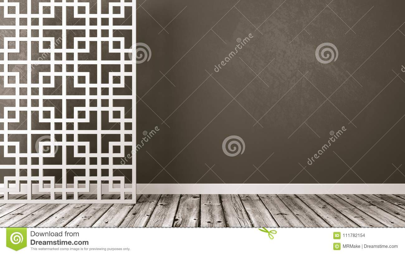 Empty Oriental Style Room with Copyspace